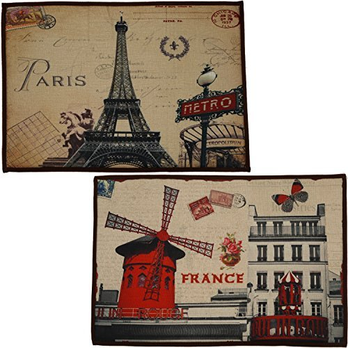 2 Matching Non-Skid Accent Rugs For Bedroom, Bathroom or Kitchen, 24X16 Each - France Edition (Rugs 10 Capel)