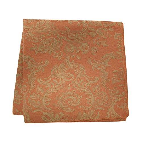 (Ultimate Textile -5 Dozen- Miranda 10 x 10-Inch Damask Cloth Cocktail Napkins- Jacquard Weave, Sienna Burnt Orange)