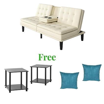 Enjoyable Mainstay Durable Memory Foam Futon Vanilla Leather Creativecarmelina Interior Chair Design Creativecarmelinacom