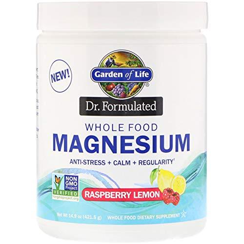 Garden of Life, Dr. Formulated, Whole Food Magnesium Powder, Raspberry Lemon, 14.9 oz (421.5 - Life Food Whole
