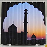 Islamic Sunset View Fashion Shower Curtain Deluxe Waterproof Bath Curtain