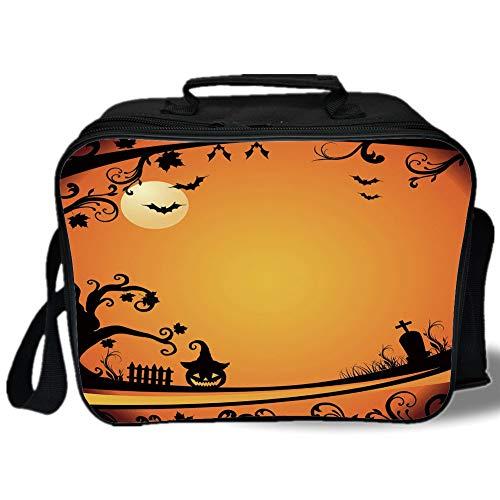 Vintage Halloween 3D Print Insulated Lunch Bag,Halloween Themed Image Eerie Atmosphere Gravestone Evil Pumpkin Moon Decorative,for Work/School/Picnic,Orange Black]()