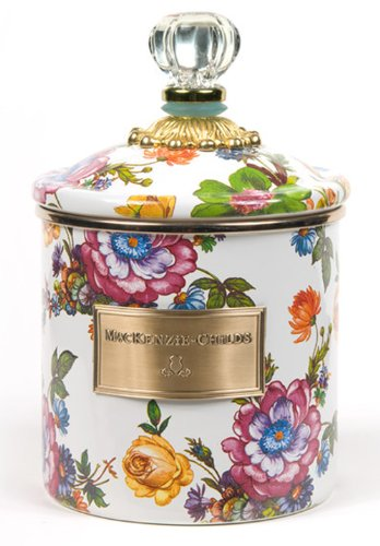 MacKenzie-Childs Flower Market Small Enamel Canister - White 5