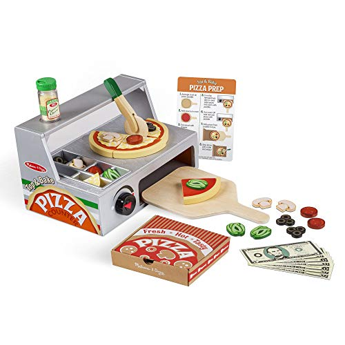 - Melissa & Doug Top and Bake Wooden Pizza Counter Play Food Set, Pretend Play, Helps Support Cognitive Development, 34 Pieces, 7.75