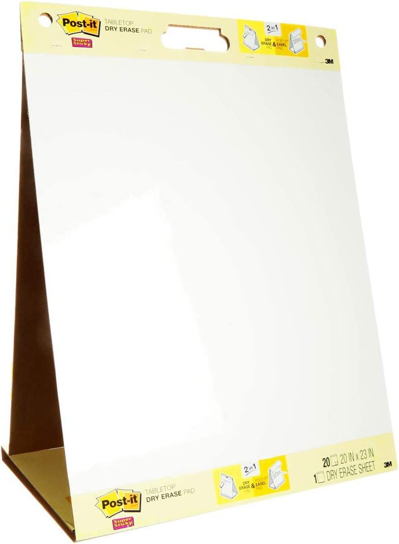 Post-it Super Sticky Portable Tabletop Easel Pad w/ Dry Erase Panel, 20x23 Inches, 20 Sheets/Pad, 1 Pad, One Side White Premium Self Stick Flip Chart Paper, One Side Dry Erase, Built-in Stand (563DE) (563 DE) : Post It? Tabletop Easel Pads With Dry Erase Board : Office Products