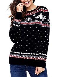 Futurino Women's Fall Casual Christmas Printed Plus Size Pullover Sweater