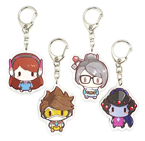 EBTY-Dreams Inc. - Set of 4 Overwatch Video Game Acrylic Keychain Mei, D.Va, Tracer, Widowmaker (Overwatch Game Of The Year Edition Upgrade)