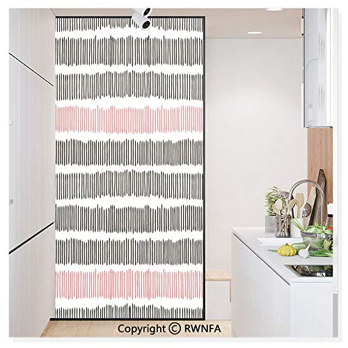 RWN Film Removable Static Decorative Privacy Window Films Hand Drawn Short Vertical Lines Retro Horizontal Stripes Hipster Doodle for Glass (17.7In. by 78.7In),Black Coral White