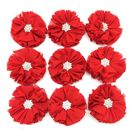 PEPPERLONELY 10PC Set Red Rhinestone Button Center Chiffon Fabric Flowers, 6.5cm(2-9/16 Inch)