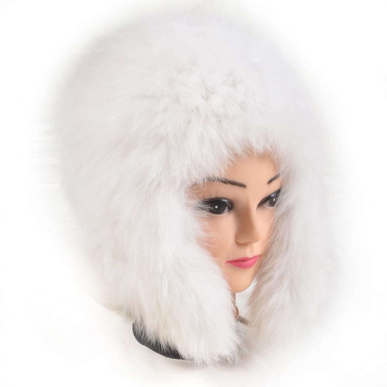 FURTALK Damen Echte Nature Weich und Warm Fuchspelz mit Stricken Ohrläppchen Design Pelzmütze Strickmütze Schneemütze Wintermütze