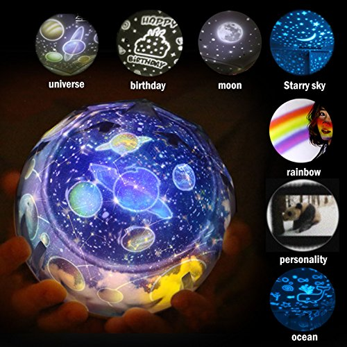 - Night Light Projector Projection Lamp in Living Room Bedroom for Kids Children Nursery-universe-birthday-moon-starry sky-rainbow -ocean CustomCute Panda-332