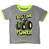 John Deere Little Boys' Toddler Big Time Power T-Shirt, Medium Heather Grey, 3T
