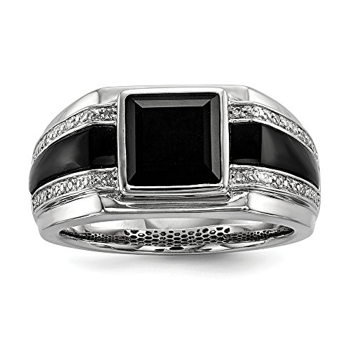 - 925 Sterling Silver Rhod Plated Diamond Black Onyx Mens Band Ring Size 11.00 Man Fine Jewelry Gift For Dad Mens For Him