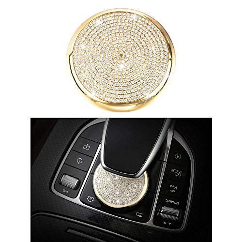 1797 Compatible W204 X204 W166 X166 C GLK Class COMAND Knob Caps Mercedes Benz Accessories Parts Bling Central Multimedia Control Switch Covers Decals Interior Decorations AMG Women Men Crystal Gold