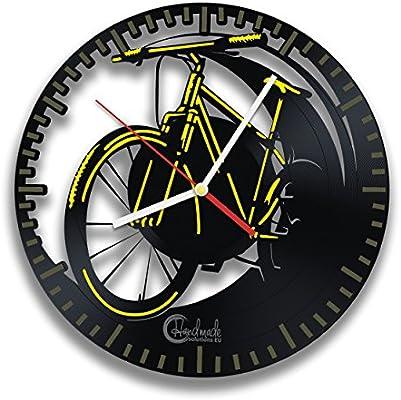 Reloj de pared amarillo del vinilo de la bicicleta para la persona ...