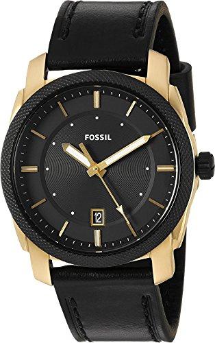 Fossil Men's FS5263 Machine Three-Hand Date Black Leather Watch Date Black Watch