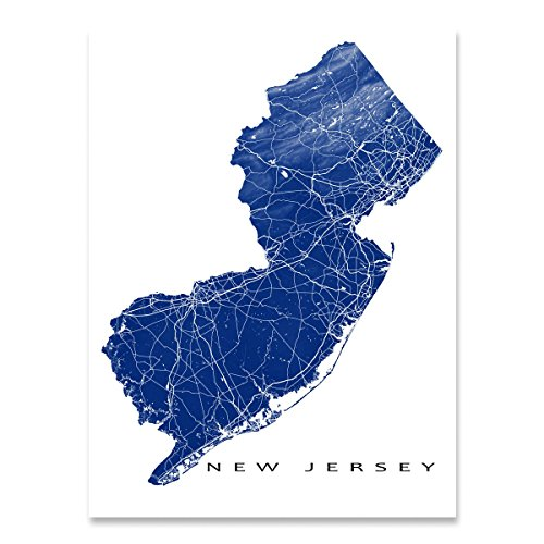 New Jersey Map Art Print, NJ State Outline, USA Poster, Jersey City, - Elizabeth Jersey Garden