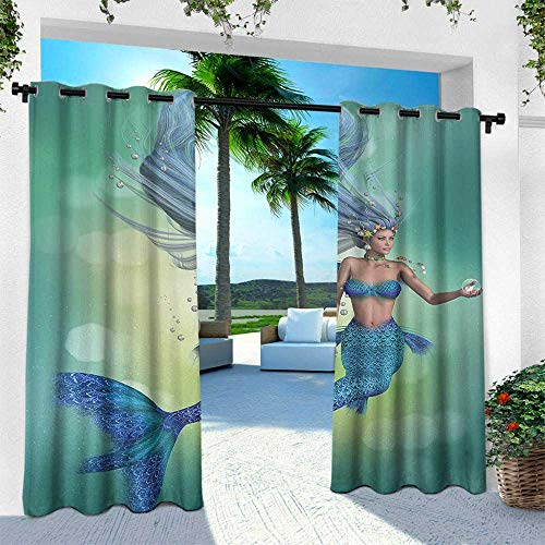 Hengshu Underwater, for Front Porch Covered Patio Gazebo Dock Beach Home,Mermaid Upper Body of a Woman and The Tail of Fish for Swimming Marine Life, W96 x L108 Inch, Teal Light Blue