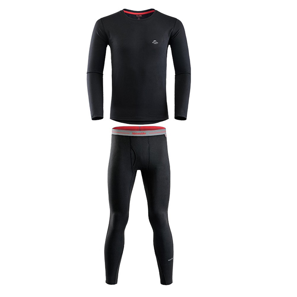 Tentock Unisex Coolmax Quick-drying Polyester Thermal Underwear Set Long Sleeve for Winter Sports Travel (Men black, M)