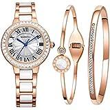 Luxury Quartz Watch Women bracelet set-MAMONA Rose Gold White Ceramic and Stainless Steel Watch 68008LRGT