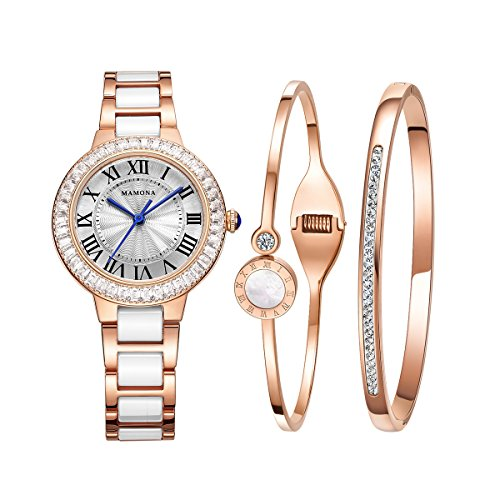 Luxury Quartz Watch Women bracelet set-MAMONA Rose Gold White Ceramic and Stainless Steel Watch 68008LRGT