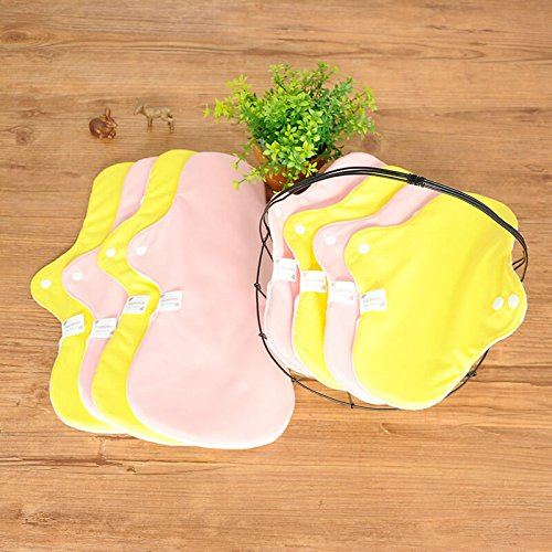 【洗いやすく乾きやすい3D立体】 昼用 夜用 オーガニック100% 布ナプキン 25~36cm 8枚 セット [イエロー/ピンク] B0764BCBJ3