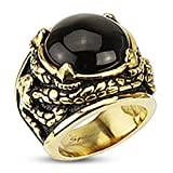 Paula & Fritz Stainless Steel Ring Surgical Steel 316L Gold Plated Dragon Claws Include Black Onix - Size = 61 (19.4) - [R-H2032_100]