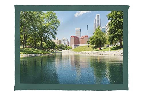 Lantern Press Omaha, Nebraska - Downtown View from River - Photography A-98393 98393 (60x80 Poly Fleece Thick Plush ()