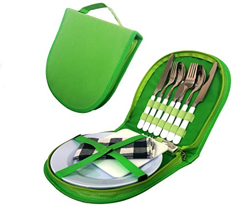 Cutlery Organizer Utensil Picnic Set - 5 Piece Camping Silverware Kit with Cotton Storage Pouch - Camp Kitchen Utensil Set with Spoon | Butter and Serrated Knife | Wine opener | Fork - Hiking, BBQ's