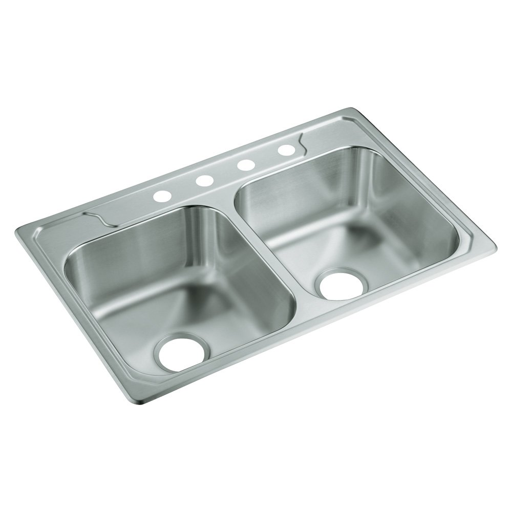 STERLING 14633-4-NA Middleton 33-inch by 22-inch Top-mount Double Equal Bowl Kitchen Sink, Stainless Steel by STERLING, a KOHLER Company
