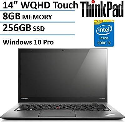 "Lenovo 2nd Gen ThinkPad X1 Carbon 14"" WQHD Touchscreen Laptop Computer, Intel Dual Core i5-4300U CPU up to 2.9GHz, 8GB RAM, 256GB SSD, 802.11ac, Bluetooth, Windows 10 Pro (Certified Refurbished)"