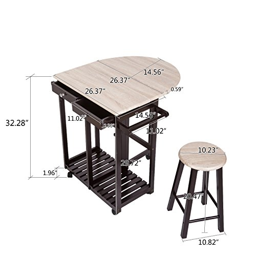 Peach Tree 3-Piece Table Dining Set Home Kitchen Furniture Wooden Rolling Kitchen Trolley Cart Island Foldable Table Drop Leaf, Breakfast Bar, Dining Table Set w/2 Stools