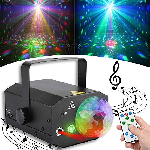 Dj Stage Lights Disco Ball Party Lights SUPERANL 16 in 1 Projector Magic Ball Lighting Effect Strobe lights Sound Activated and Remote Control for Room Dance Parties Birthday DJ Bar Club Pub