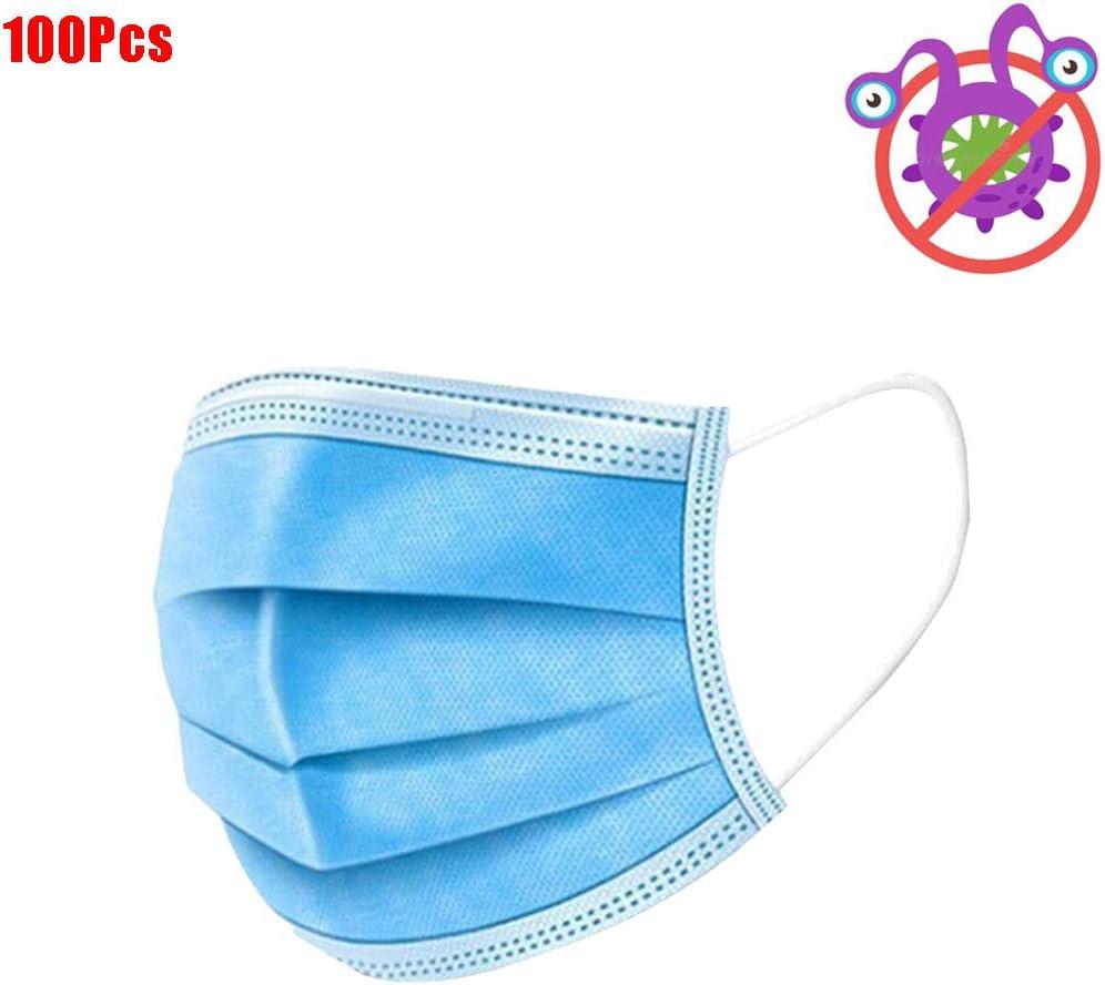 EDG 100Pcs Protector Facial desechable de 3 Capas, Filtros Face a Prueba de Polvo Azul, Protección contra el Aire Saludable contra la Saliva, Bucles de Oreja, Doctor - Esteticista Enfermera Uso Boca