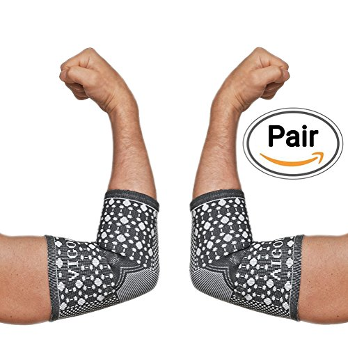 Premium Elbow Compression Sleeve (2 pcs) - Athletic Elbow Sleeve Used for Basketball, Tennis, Baseball, Running - Great Elbow Support - Sized for Men & Women Vigor Force