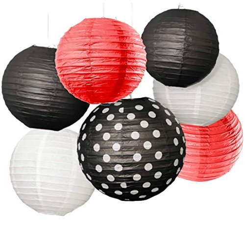 Bobee Black Red and White Party Decorations Paper Lanterns Set of 7