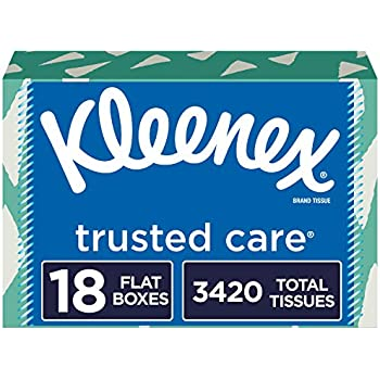 Kleenex Trusted Care Everyday Facial Tissues, 18 Flat Boxes, 190 Tissues per Box (3,420 Tissues Total)