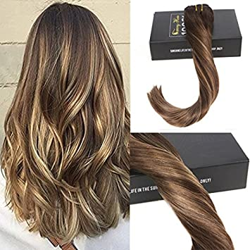 Amazon Com Sunny 14 Silky Straight Balayage Clip In Ombre Hair