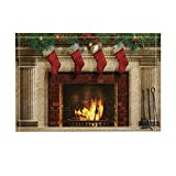 NYMB Christmas Decor, Tree Fireplace with Xmas Sock for Kids Bath Rugs, Non-Slip Doormat Floor Entryways Indoor Front Door Mat, Kids Bath Mat, 15.7x23.6in, Bathroom Accessories