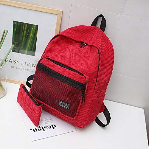 Casual Rojo Fsweeth Mujer Corduroy Bolsa Grid 29 11cm Schoolbag Campus Estudiante 40 Mochila 7q8dnwUa
