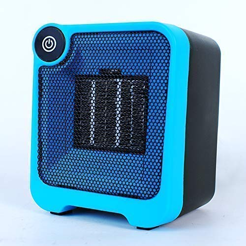 lazy Elf Personal Desktop Mini Space Heater Energy Efficient Quiet Indoor Mini Heater Gifts for mom、Kids Room、Office Warm Hands 500W Portable Mini Fan Heater with Overheat&Tip-Over Protection - Blue QT-A205
