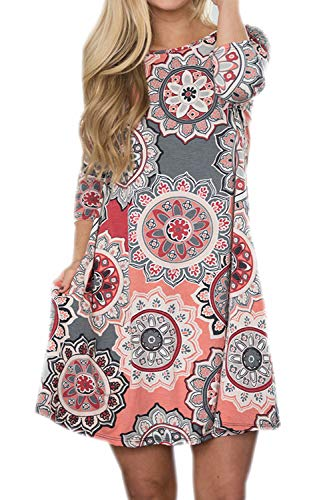- Silvous Women's Casual Floral Dress 3/4 Sleeve Round Neck Swing Midi Dress with Pockets (Grey S)