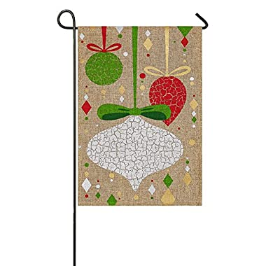 Evergreen Burlap Christmas Crackle Ornaments Garden Flag, 12.5 x 18 inches