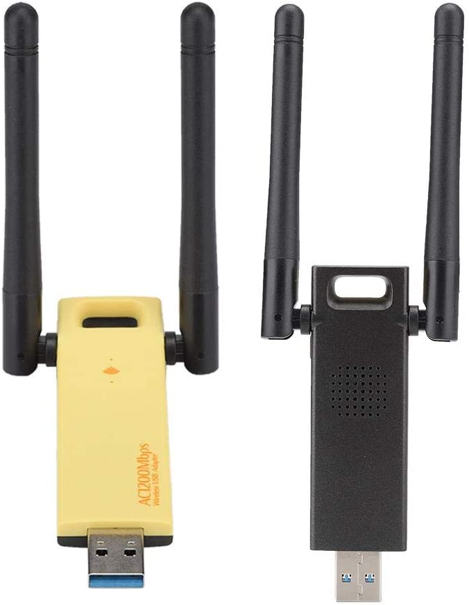 ASHATA Network Card External Double Antenna 802.11AC 1200M Network Card,Gain 2dbi USB 3.0,5GHz Band Wireless Speed up to 866Mbps
