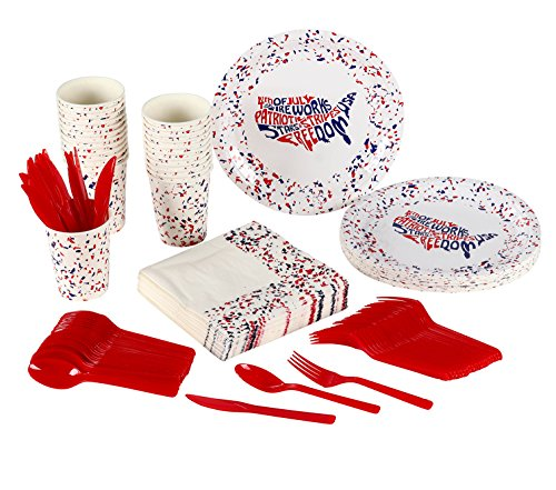 Patriotic Party Supplies - Serves 24 - Includes Plates, Knives, Spoons, Forks, Cups and Napkins. Perfect Patriotic Party Pack for Veteran's Day, 4th of July, Memorial Day Themed Parties.]()