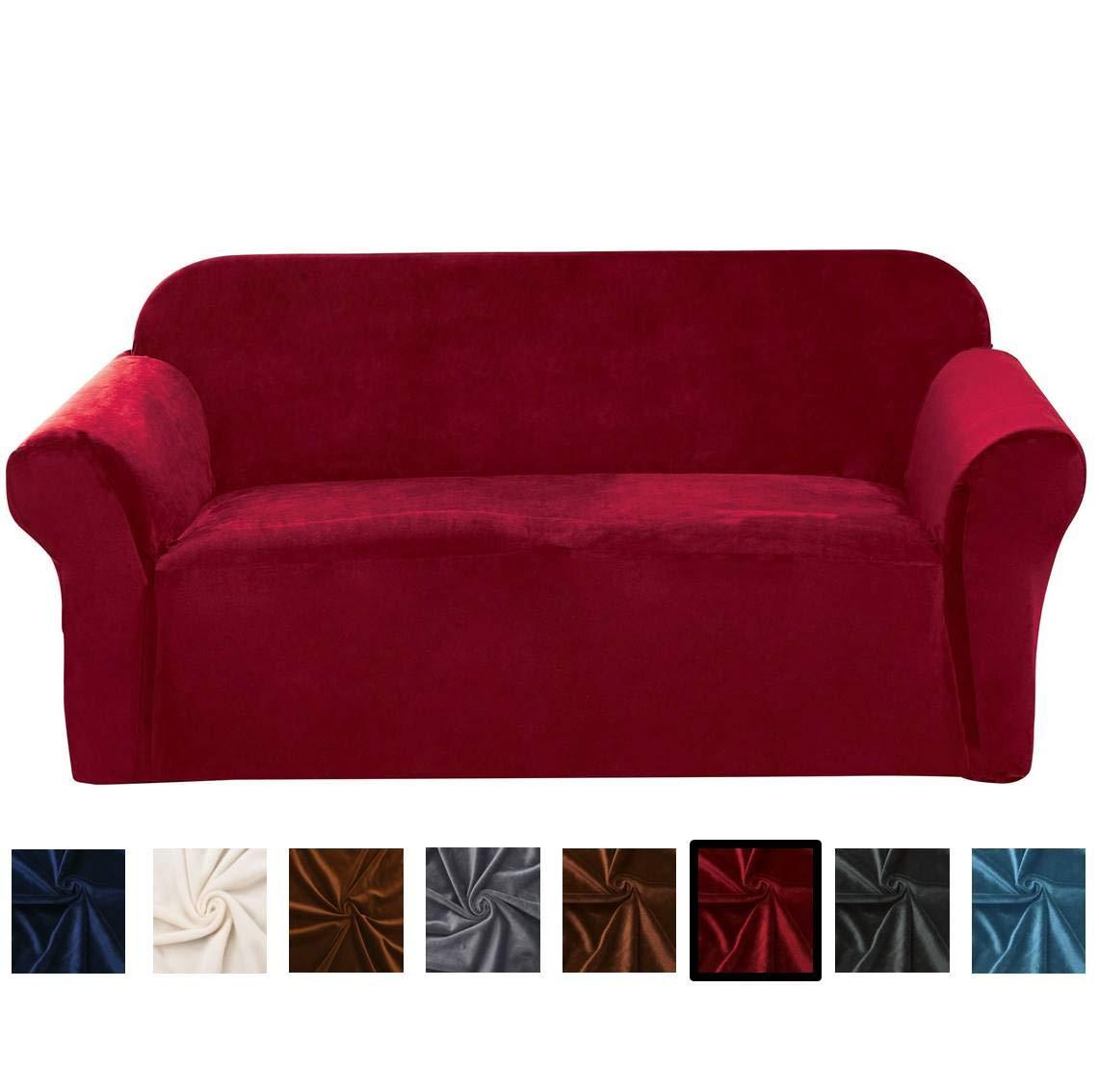 Argstar Velvet Plush Loveseat Furniture Cover, Sofa Slipcover,Love seat  Covers for Living Room, Wine Red