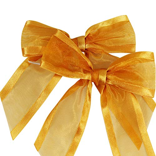 "Gold Pre-Tied Organza Bows with Twist Ties. Pack of 12 Satin-Edged Fabric Bows Made of 1-1/2"" Ribbon. Bow Measures 4"" Wide (12, Gold)"