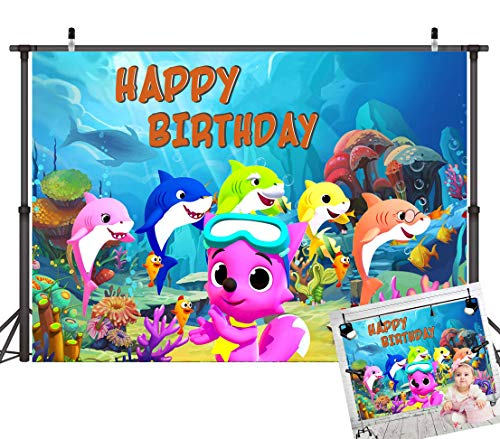 Art Studio Baby Shark Family Theme Happy Birthday Party Photography Backdrops Cartoon Animals Photo Background Studio Props Vinyl 7x5ft