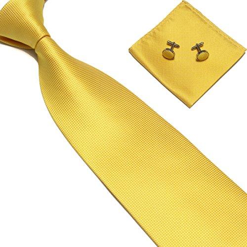 Yellow Mens Tie - Stylefad Men's Solid Plaid Wide Neck Tie Set Hanky Cufflink Yellow