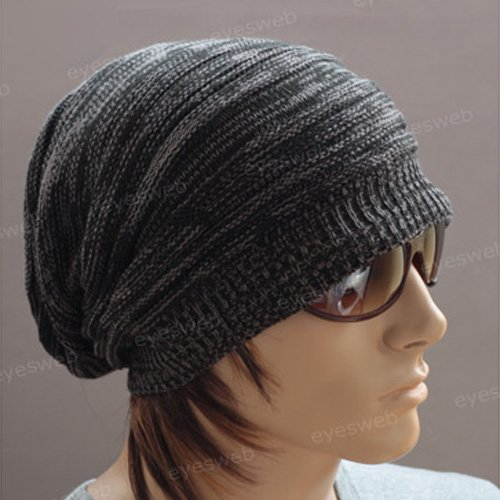 Generic Unisex Men's Textured Design Stretch Knit Cap Beanie Hat Black Off-white